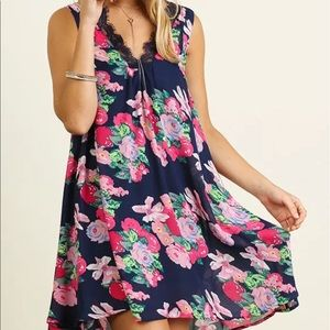 Umgee Floral Lace Tunic Dress